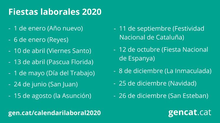 Calendario Laboral 2020.Trabajo Generalitat De Cataluna