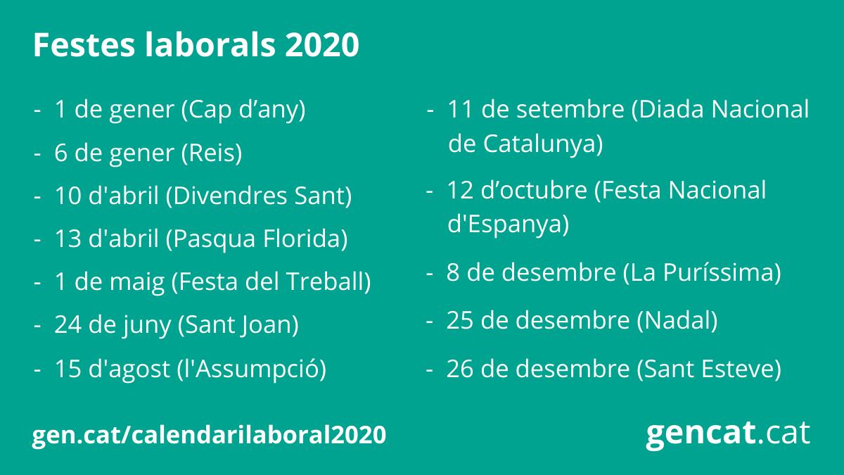 Calendario 2020 Pdf Con Festivita.Calendari Laboral 2020 Generalitat De Catalunya