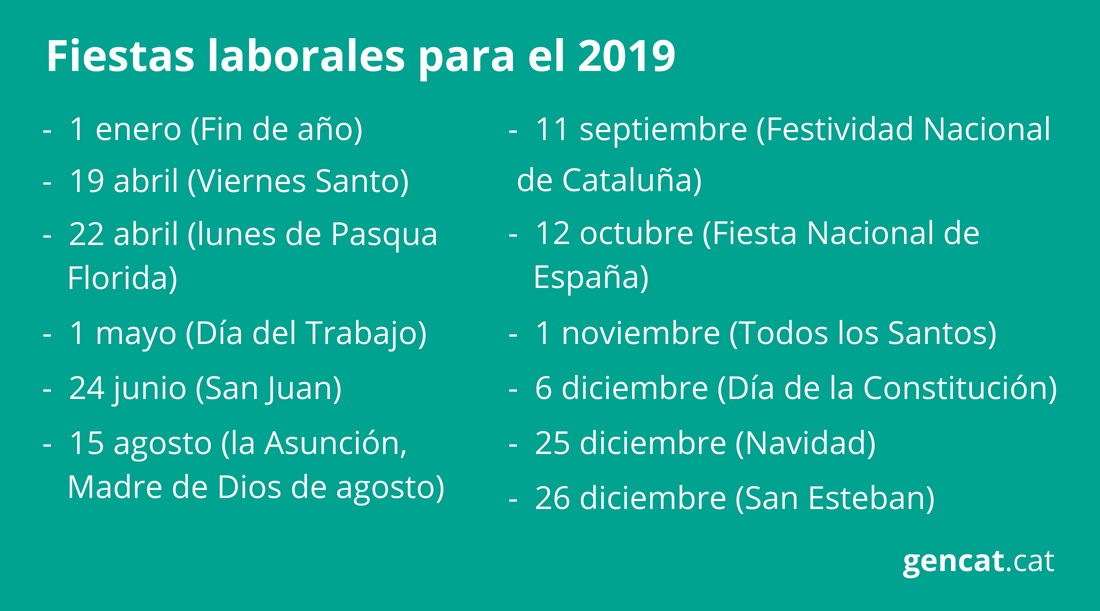 Calendario Laboral Construccion 2020.Calendario Laboral 2019 Generalitat De Cataluna