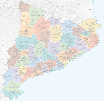 Catalonia comprises 947 municipalities grouped in 42 regions