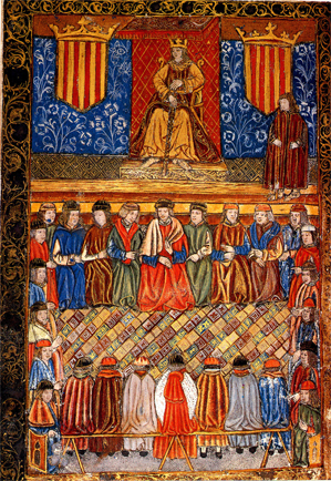 Colourful wood carving showing the Royal Courts of the Catalan-Aragonese Crown (edition of the Constitutions of Catalonia, incunabulum dated 1495).