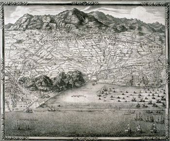 map of the siege of Barcelona in 1697